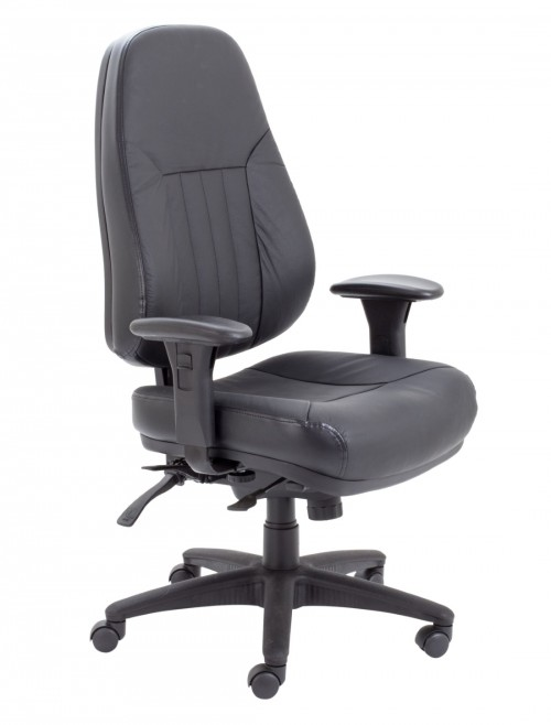 Office Chairs - TC Panther Black Leather Office Chair CH1101