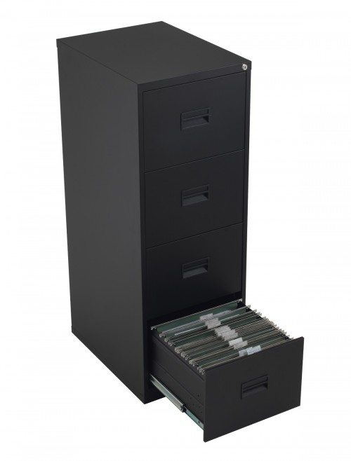 Steel Storage - TC Talos 4 Drawer Steel Filing Cabinet TCS4FC-BK in Black