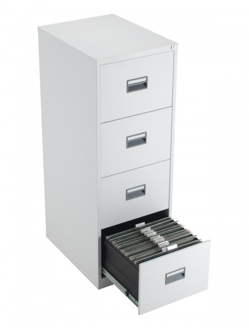 Steel Storage - TC Talos 4 Drawer Steel Filing Cabinet TCS4FC-WH in White