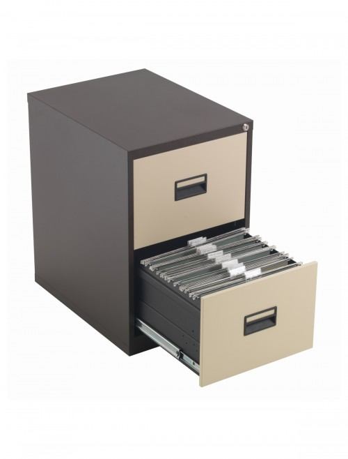 Steel Storage - TC Talos 2 Drawer Steel Filing Cabinet TCS2FC-CC in Coffee Cream