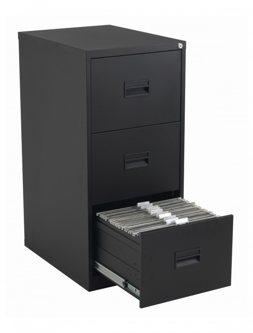 Steel Storage - TC Talos 3 Drawer Steel Filing Cabinet TCS3FC-BK in Black