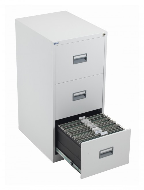 Steel Storage - TC Talos 3 Drawer Steel Filing Cabinet TCS3FC-WH in White