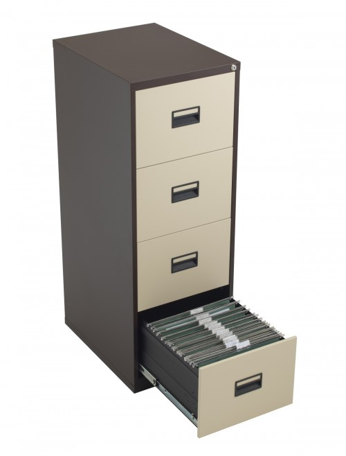 Steel Storage - TC Talos 4 Drawer Steel Filing Cabinet TCS4FC-CC in Coffee Cream