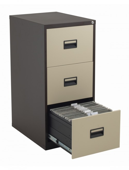 Steel Storage - TC Talos 3 Drawer Steel Filing Cabinet TCS3FC-CC in Coffee Cream