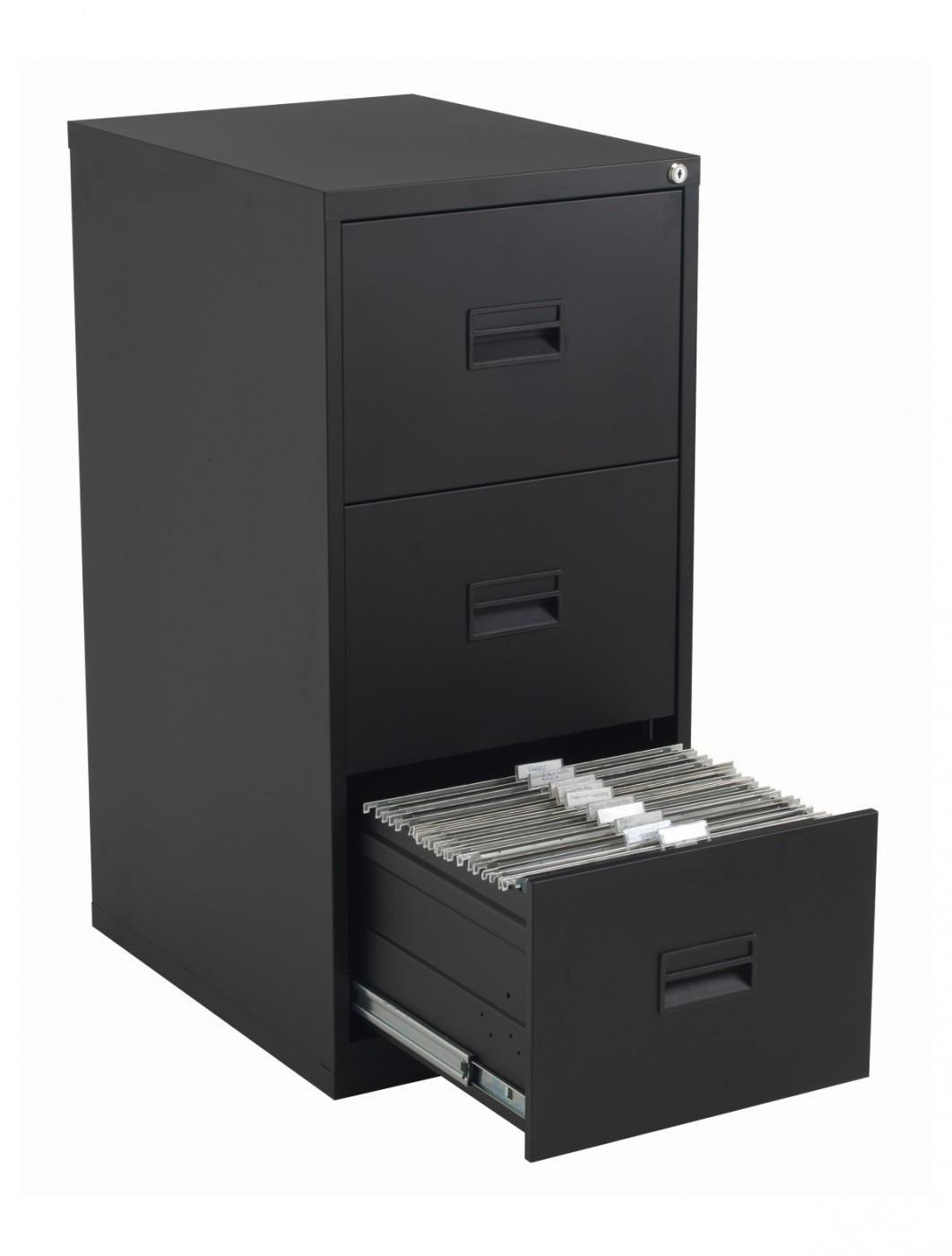 TC Talos 3 Drawer Steel Filing Cabinet TCS3FC-BK in Black ...