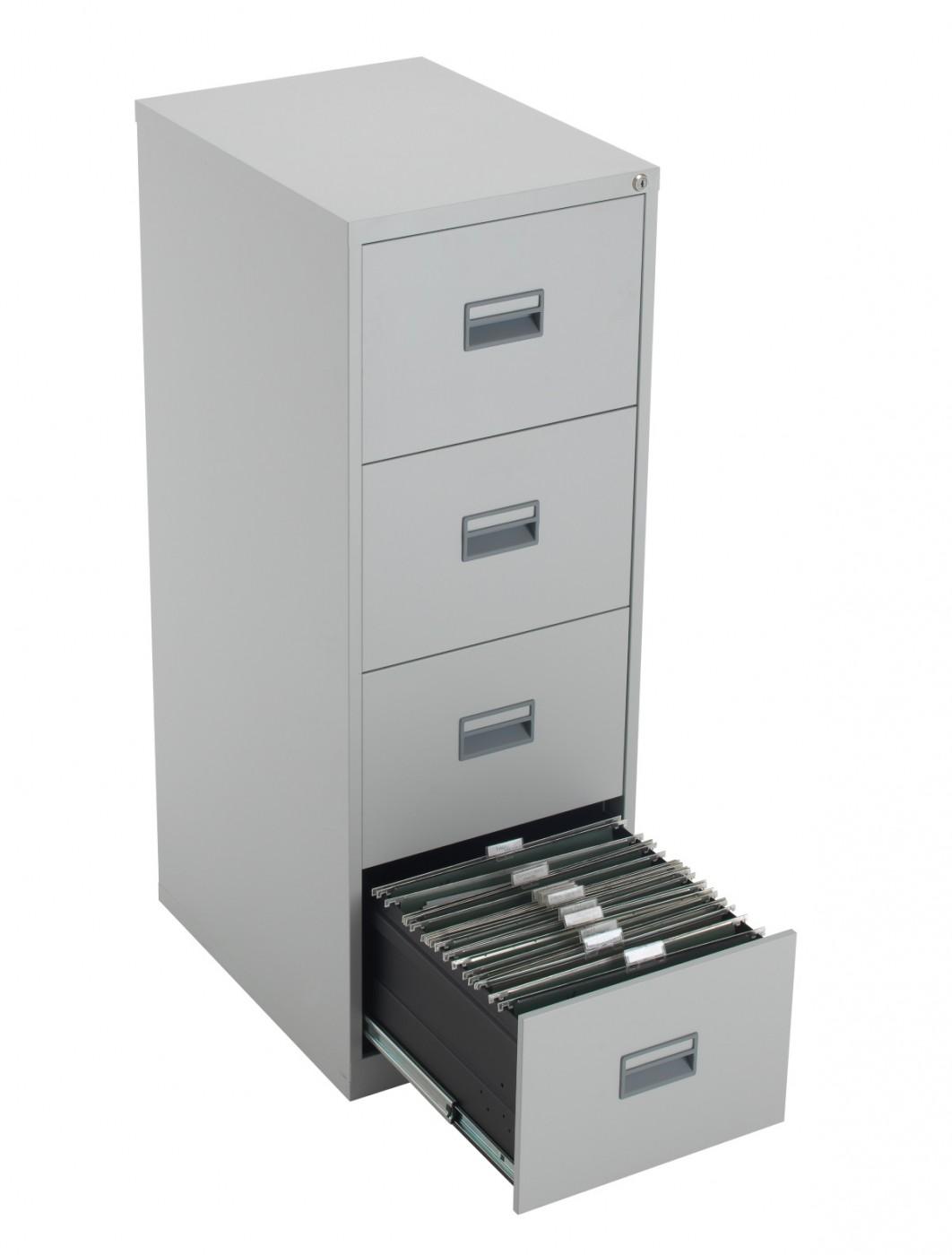 newest e2c20 ecf27 TC Talos 4 Drawer Steel Filing Cabinet TCS4FC-GR in Grey