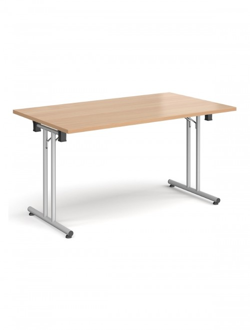 Beech Table - Straight Folding Leg Meeting Table 1400mm SFL1400-S-B