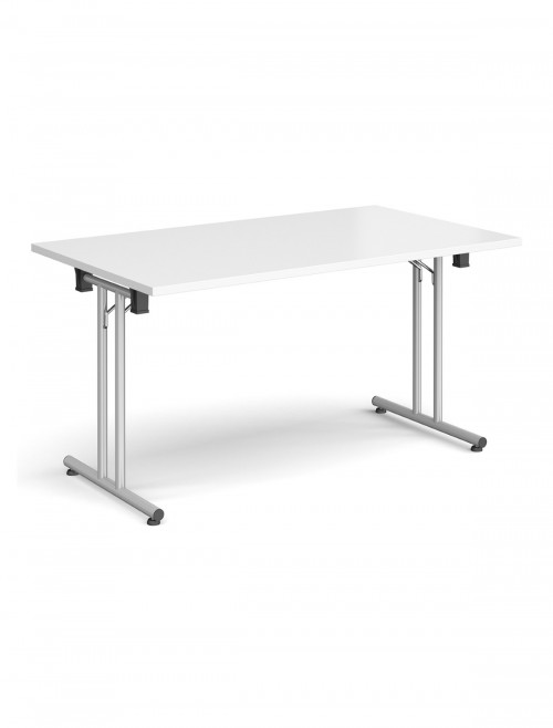 White Table Straight Folding Leg Meeting Table 1600mm SFL1600-S-WH