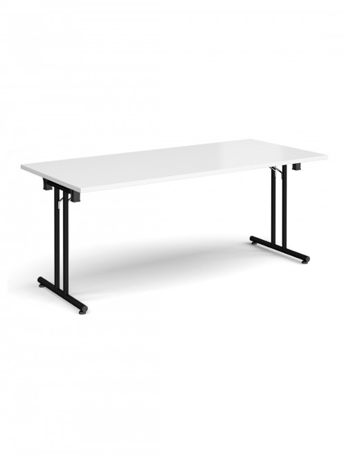 White Table Straight Folding Leg Meeting Table 1800mm SFL1800-K-WH