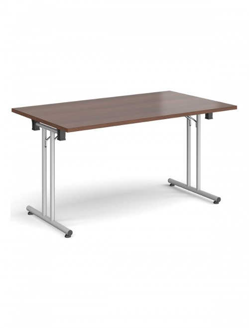 Walnut Table - Straight Folding Leg Meeting Table 1400mm SFL1400-S-W