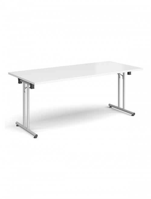 White Table - Straight Folding Leg Meeting Table 1800mm SFL1800-S-WH