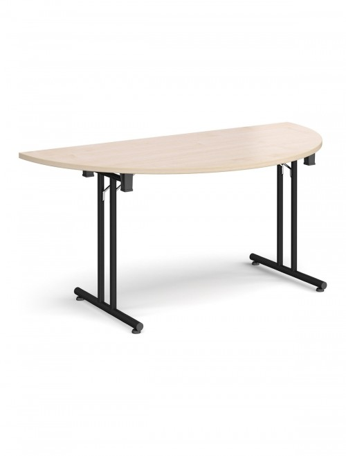 Maple Table - Semi-Circular Straight Folding Leg Meeting Table 1600mm SFL1600S-K-M