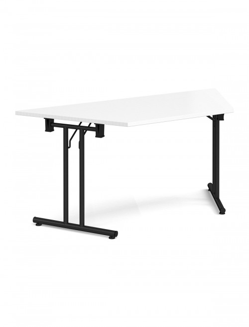 White Table Trapezoidal Straight Folding Leg Meeting Table 1600mm SFL1600T-K-WH