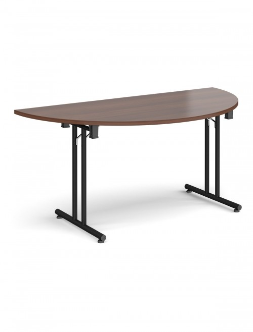 Walnut Table - Semi-Circular Straight Folding Leg Meeting Table 1600mm SFL1600S-K-W