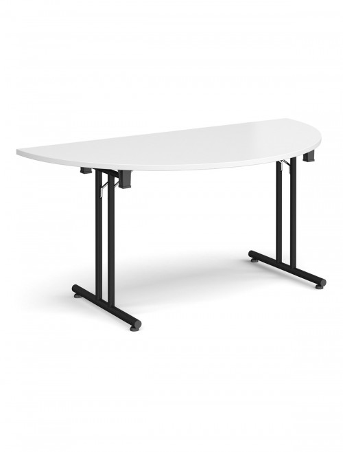 White Table - Semi-Circular Straight Folding Leg Meeting Table 1600mm SFL1600S-K-WH
