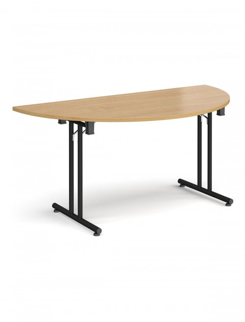 Oak Table - Semi-Circular Straight Folding Leg Meeting Table 1600mm SFL1600S-K-O