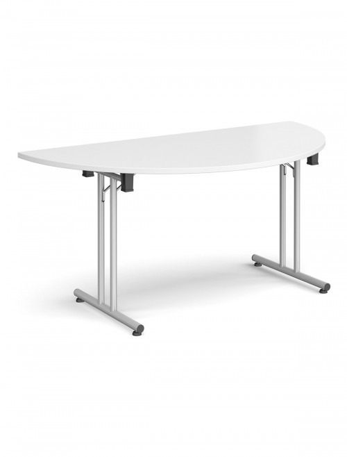 White Table - Semi-Circular Straight Folding Leg Meeting Table 1600mm SFL1600S-S-WH