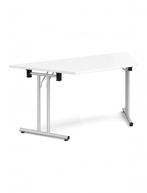 White Table Trapezoidal Straight Folding Leg Meeting Table 1600mm SFL1600T-S-WH