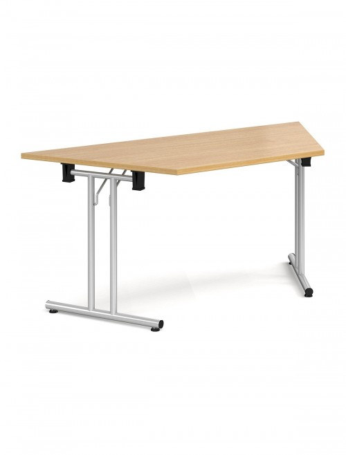 Oak Table - Trapezoidal Straight Folding Leg Meeting Table 1600mm SFL1600T-S-O