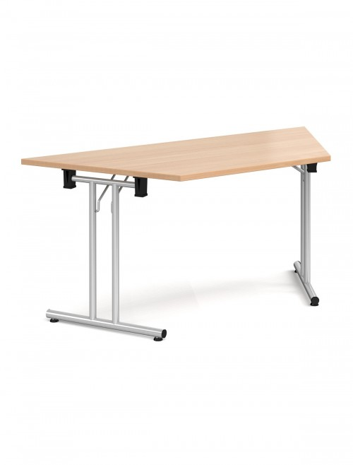 Beech Table Trapezoidal Straight Folding Leg Meeting Table 1600mm SFL1600T-S-B