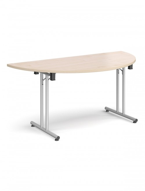 Maple Table - Semi-Circular Straight Folding Leg Meeting Table 1600mm SFL1600S-S-M