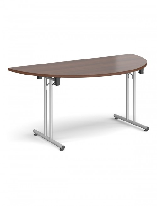 Walnut Table - Semi-Circular Straight Folding Leg Meeting Table 1600mm SFL1600S-S-W