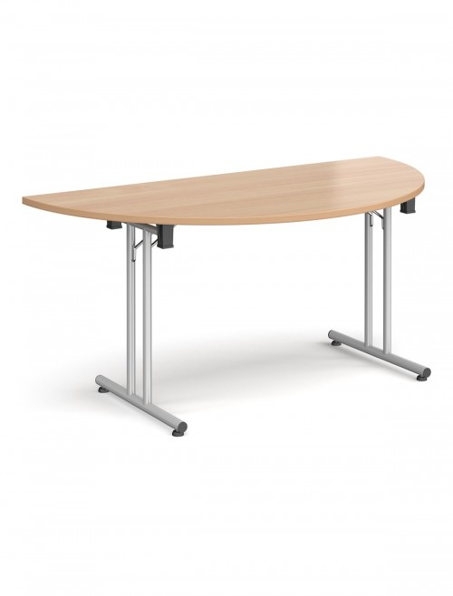 Beech Table - Semi-Circular Straight Folding Leg Meeting Table 1600mm SFL1600S-S-B