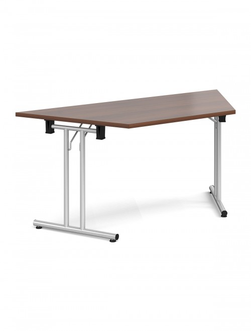 Walnut Table Trapezoidal Straight Folding Leg Meeting Table 1600mm SFL1600T-S-W