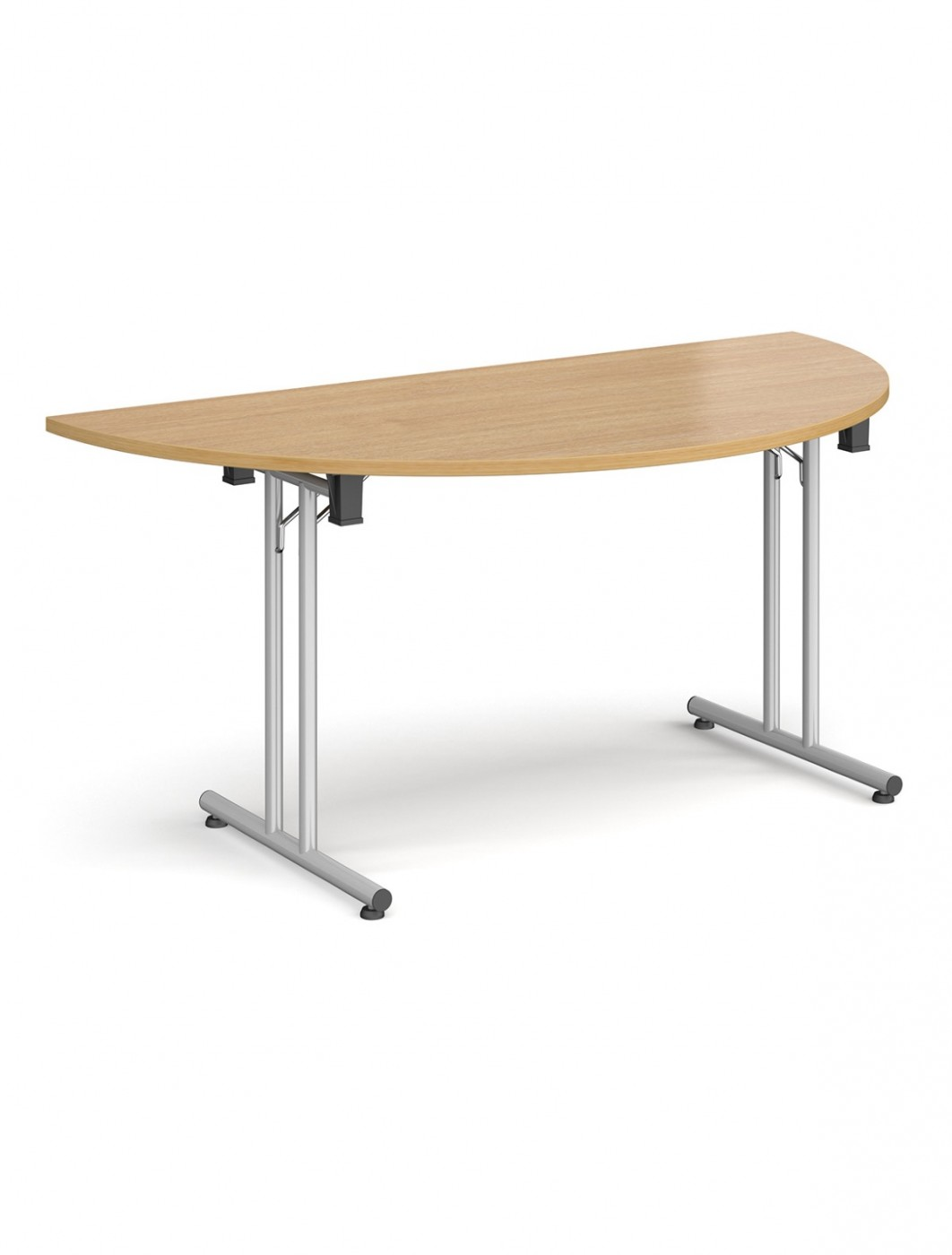 Oak Table - Semi-Circular Straight Folding Leg Meeting Table 1600mm SFL1600S-S-O