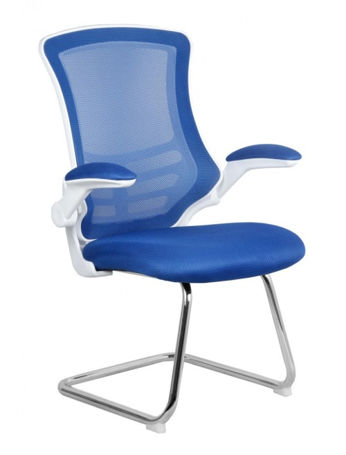 Mesh Visitors Chair Luna Blue BCM/L1302V/WH-BL by Eliza Tinsley