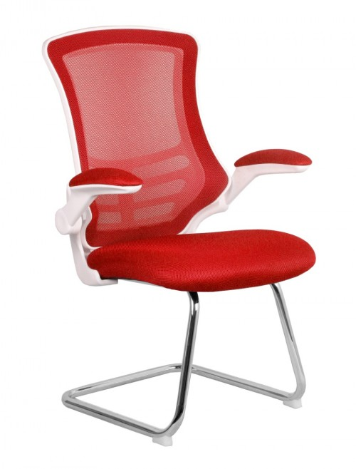 Mesh Visitors Chair Luna Red BCM/L1302V/WH-RD by Eliza Tinsley
