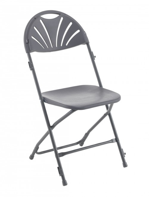 Exam Chairs - Charcoal Folding Chair with Fan Back TCFAFC2LK-C