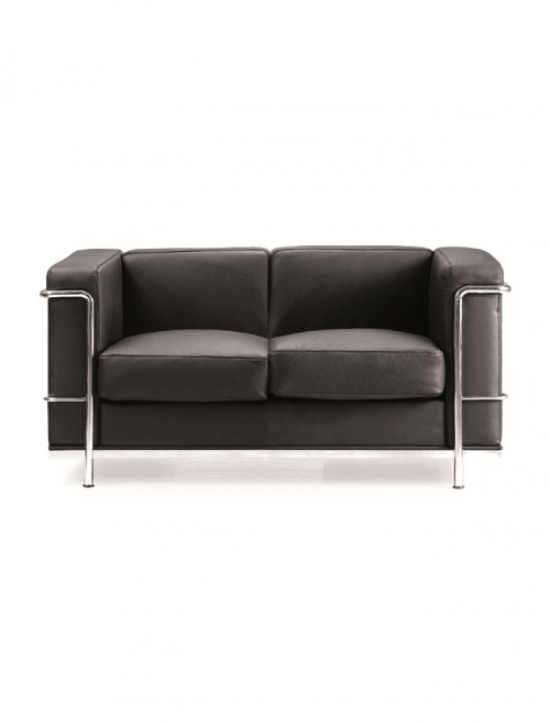 Belmont Leather Faced Reception Two Seater Sofa BSL/X201/BK