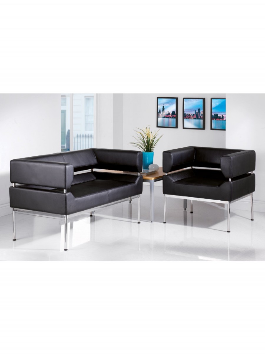 Benotto Faux Leather Two Seater Reception Sofa BEN50002