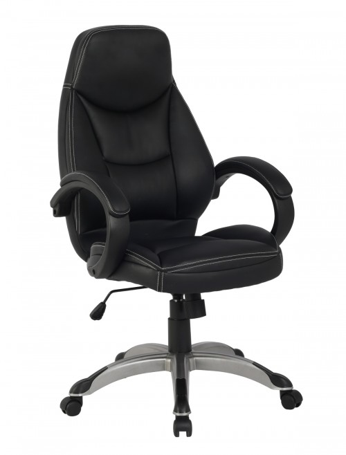 Faux Leather Office Chair Portico Black AOCMAK1 by Alphason