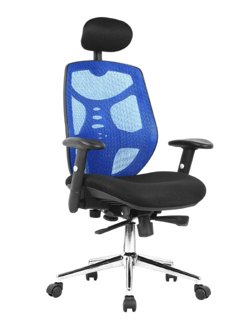 Mesh Office Chair with Headrest Polaris Blue BCM/K113/BL by Eliza Tinsley