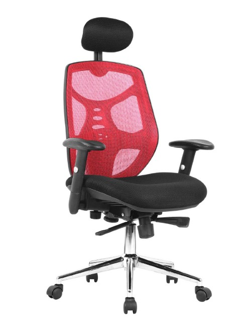 Mesh Office Chair with Headrest Polaris Red BCM/K113/RD by Eliza Tinsley