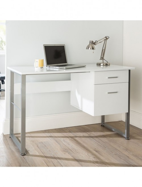Home Office Desk White Cabrini AW22226-WH by Alphason