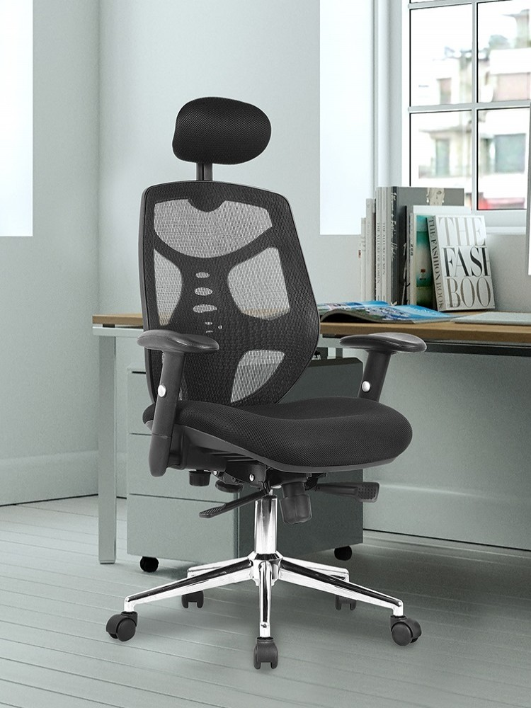 Office Chairs - Polaris Mesh Office Chair with Headrest BCM/K113/BK