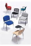 Stackable Meeting Room Seat - 4 pack Taurus chrome frame with arms in beech - enlarged view
