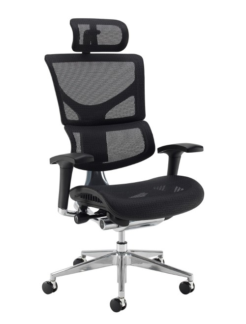 Office Chair Black Mesh Dynamo Ergo with Headrest DYNX301E1-C by Dams