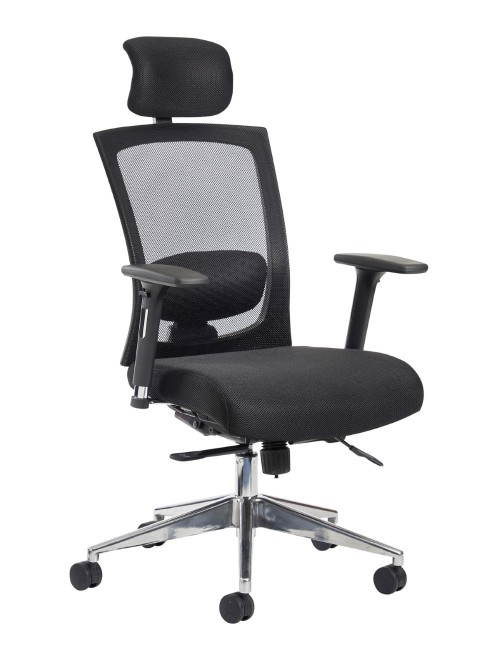 Mesh Office Chair Black Gemini Task Operators Chair with Headrest GEM302K2 by Dams