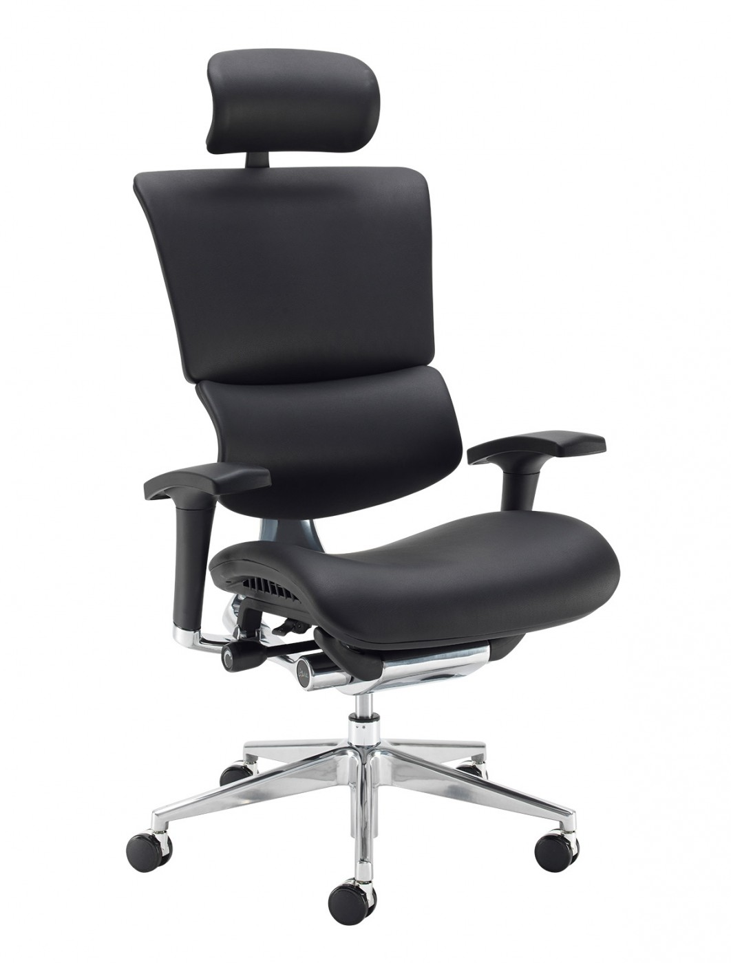Office Chair Black Bonded Leather Dynamo Ergo with Headrest DYNX401E1-C by Dams