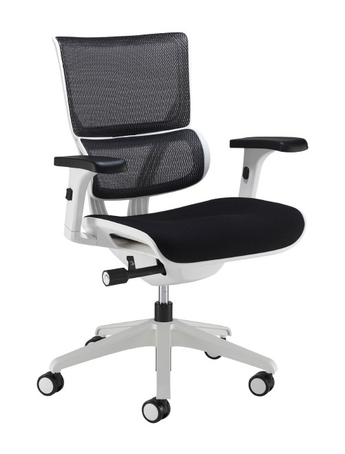 Office Chair Black Mesh Dynamo DYN300K2-WH with White Frame by Dams