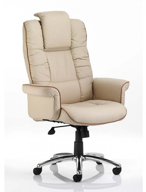 Office Chairs - Chelsea Bonded Leather Executive Chair in Cream