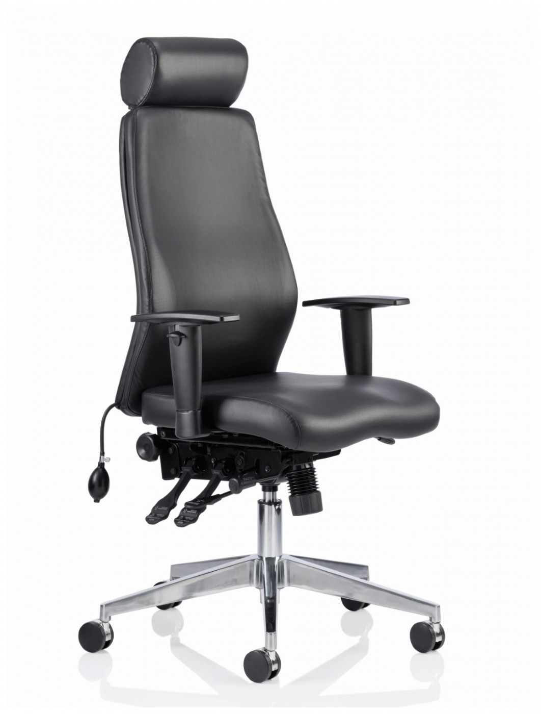 Dynamic Onyx Leather Office Chair With Headrest Op000098 121 Office Furniture