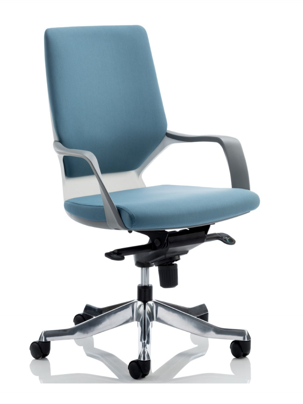 Picture of: Dynamic Xenon Blue Fabric Executive Chair With White Shell 121 Office Furniture
