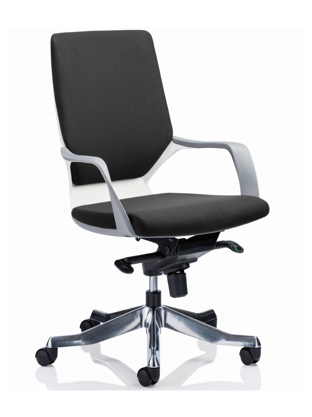 Picture of: Dynamic Xenon Black Fabric Executive Chair With White Shell 121 Office Furniture