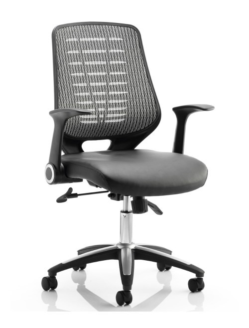 Office Chairs - Relay Silver Mesh Office Chair w/ Leather Seat Pad
