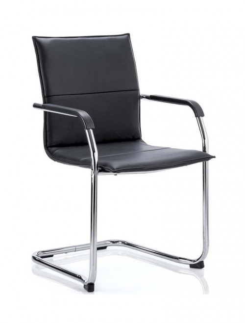 Echo Cantilever Black Leather Visitors Chair ECHO